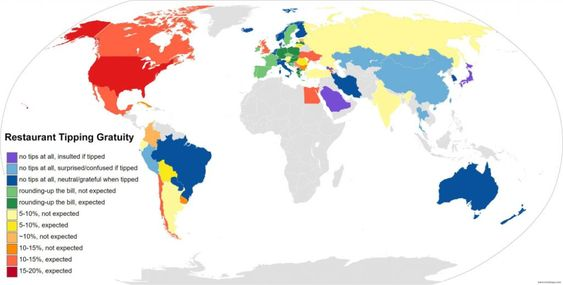 Tipping Etiquette Around The World Vivid Maps Map Historical Maps Vivid