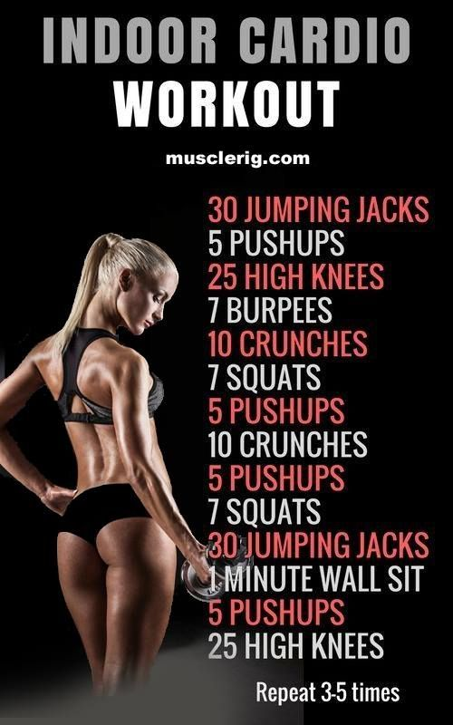 Indoor Cardio Workout - Jumping Jacks - Puships - Burpees - High knees - Squats and Crunches