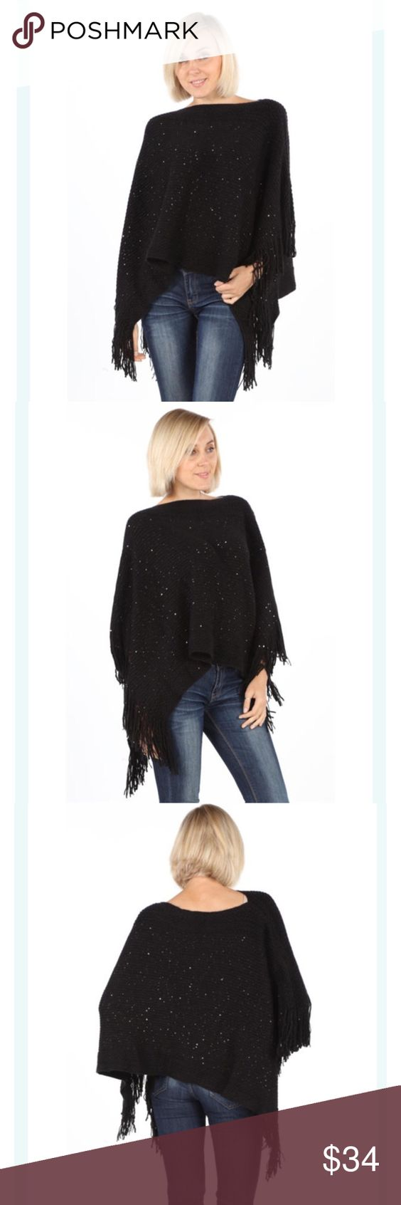 Poncho with sequin embroidery One Size poncho with fringe and sequin embroidery! Super soft! Sweaters Shrugs & Ponchos