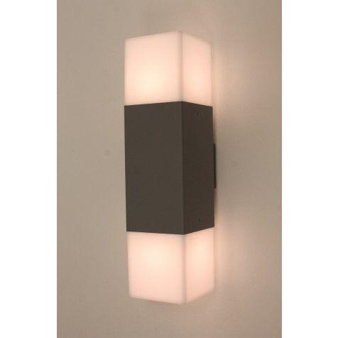Strakke Buitenlamp Wand Block 2 Lichts Grijs Buitenlamp Wanden Licht