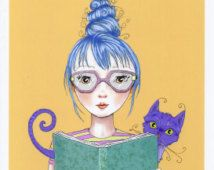 Reading with a Cat. Illustration, art, digital print, big eyed girl, fantasy fairy tale, wall decor