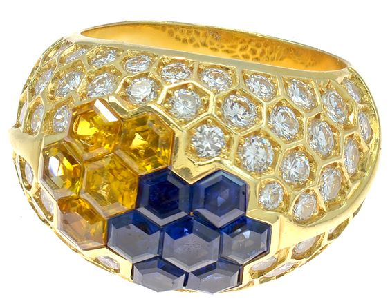 French Diamond, Blue & Yellow Sapphire Dome Ring image 2