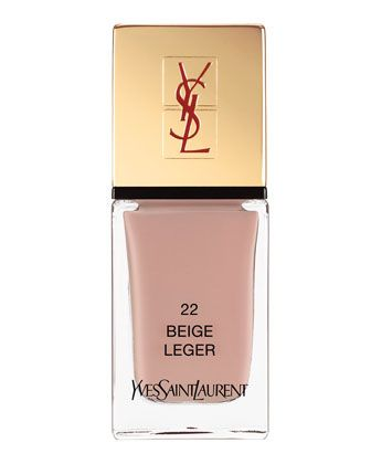 La Laque No22 Beige Leger by Yves Saint Laurent Beaute Its vibrant collection makes every woman couture to the fingertips. New formula offers extreme shine and care for nails.