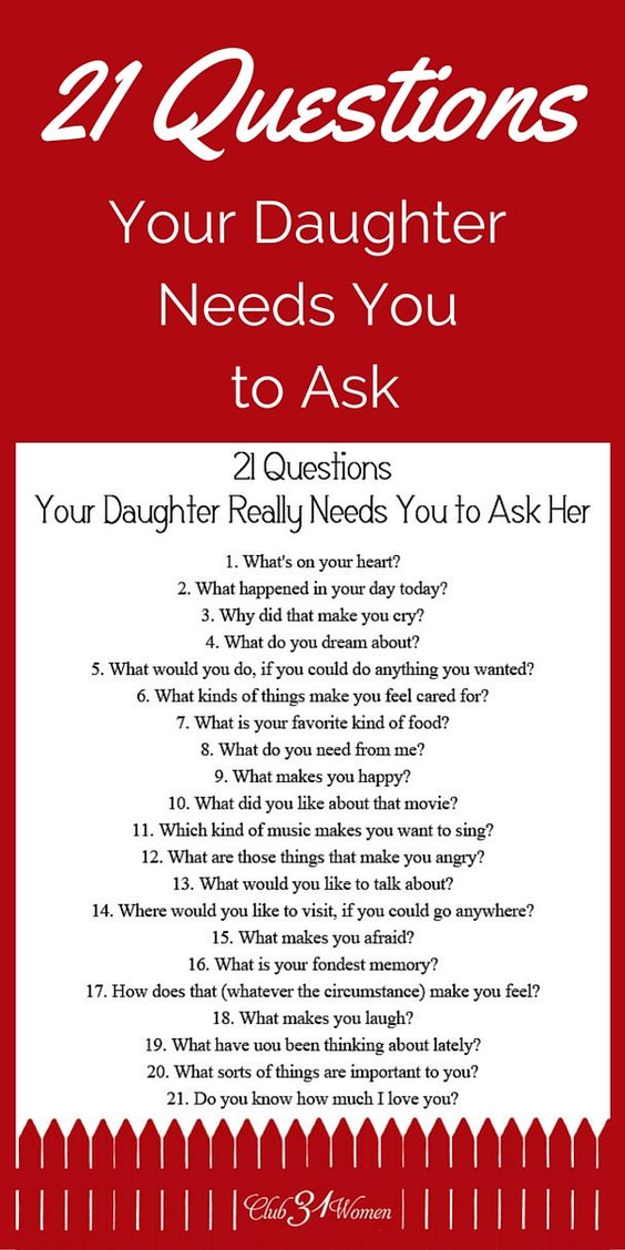 FREE Printable! So how do you develop a close relationship with your daughter? How to get to know her heart? Here are some questions she really needs you to ask her! ~ Club31Women: