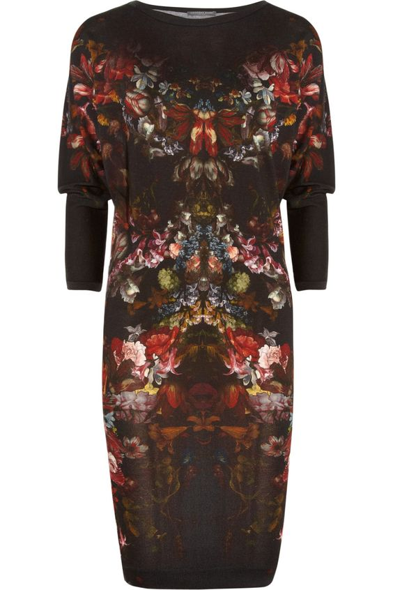 Alexander McQueenFloral-Print Wool Dress