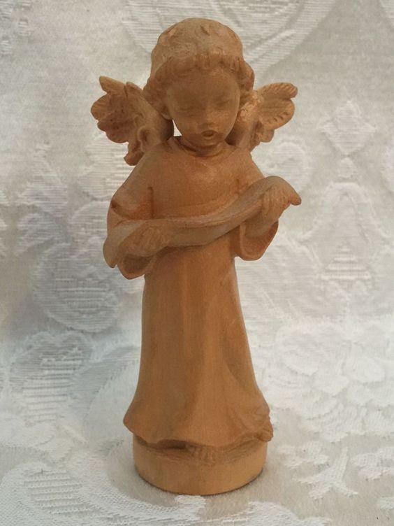 German Angel Figurine Holzschnitzereien Oberstaufen H. Riegger Hand Carved Wood…