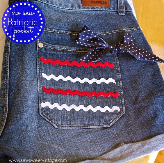 how-to make decorate your shorts with a no-sew red, white and blue, patriotic pocket for July 4th