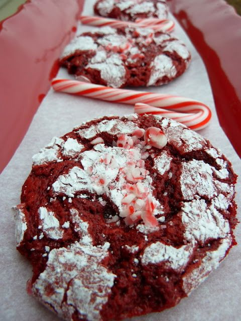 Red Velvet Peppermint Crinkle Cookies   makes about 36  1 box Duncan Hines Red Velvet Cake  6 T butter  2 eggs  1 tsp peppermint extract  1/2 C crushed peppermint or candy canes  1 C powdered sugar  1 tsp cornstarch