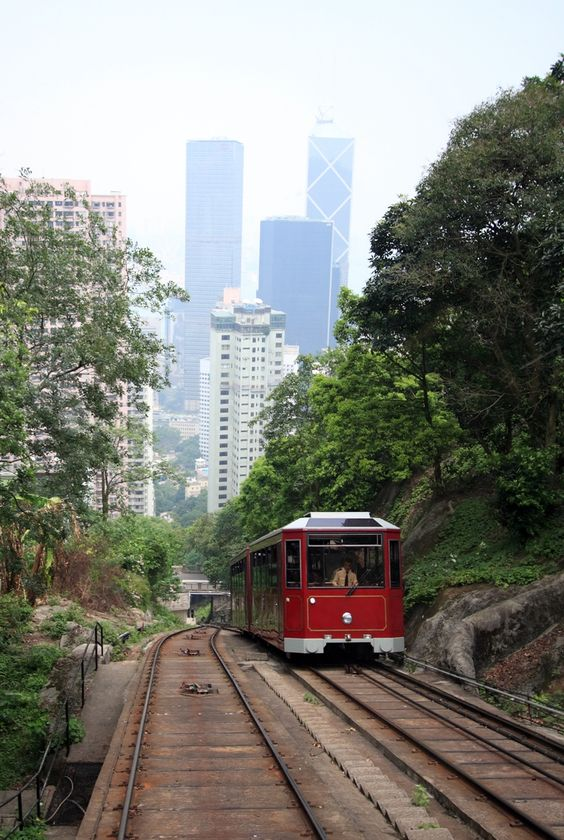 The the Peak Tram to get the most amazing view of Hong Kong and Kowloon. #peaktram #hongkong