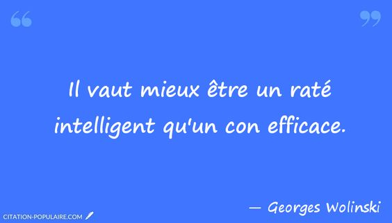 Il vaut mieux être un raté intelligent qu'un con efficace. Georges Wolinski