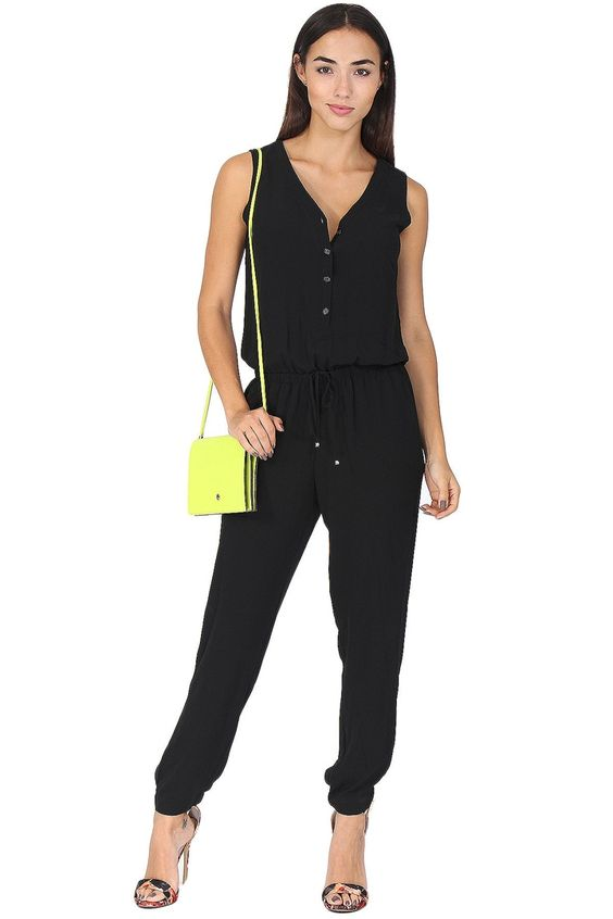 Black chiffon tank jumpsuit featuring  front button closure, drawstring waistband and dual side pockets. This classic jumpsuit is a must-have! Pair with some cute flats for running around or dress it up with a printed heel. So easy to wear!