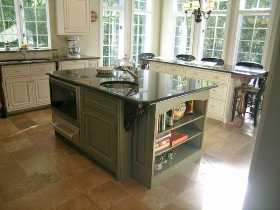 Maple wood kitchen cabinets in sage green and harricana for Sage green kitchen units