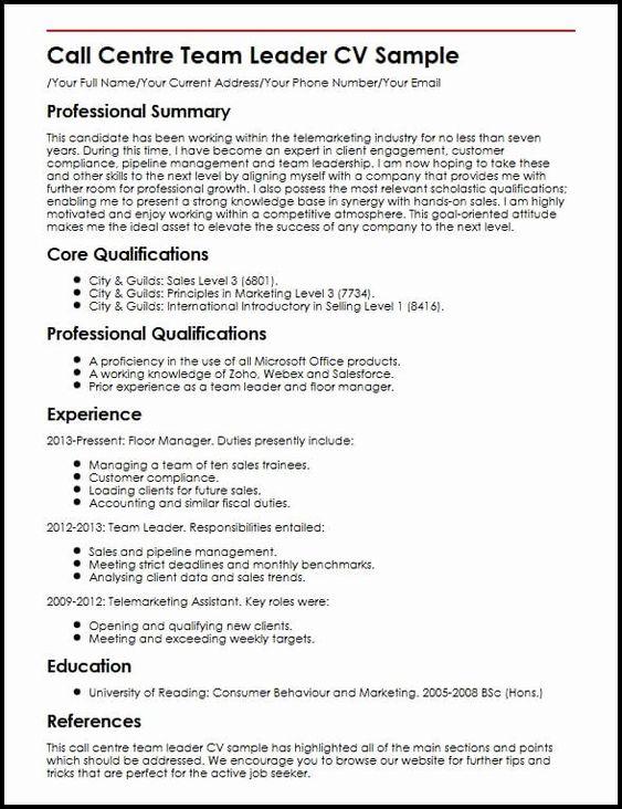 Food Service Worker Job Description Resume Beautiful Call Centre Team Leader Cv Sample In 2020 Resume Examples Good Resume Examples Jobs For Teachers