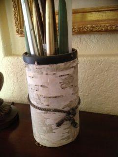 Birch skin onto vase.