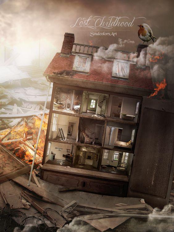 Lost Childhood - broken dollhouse by SoulcolorsArt on DeviantArt
