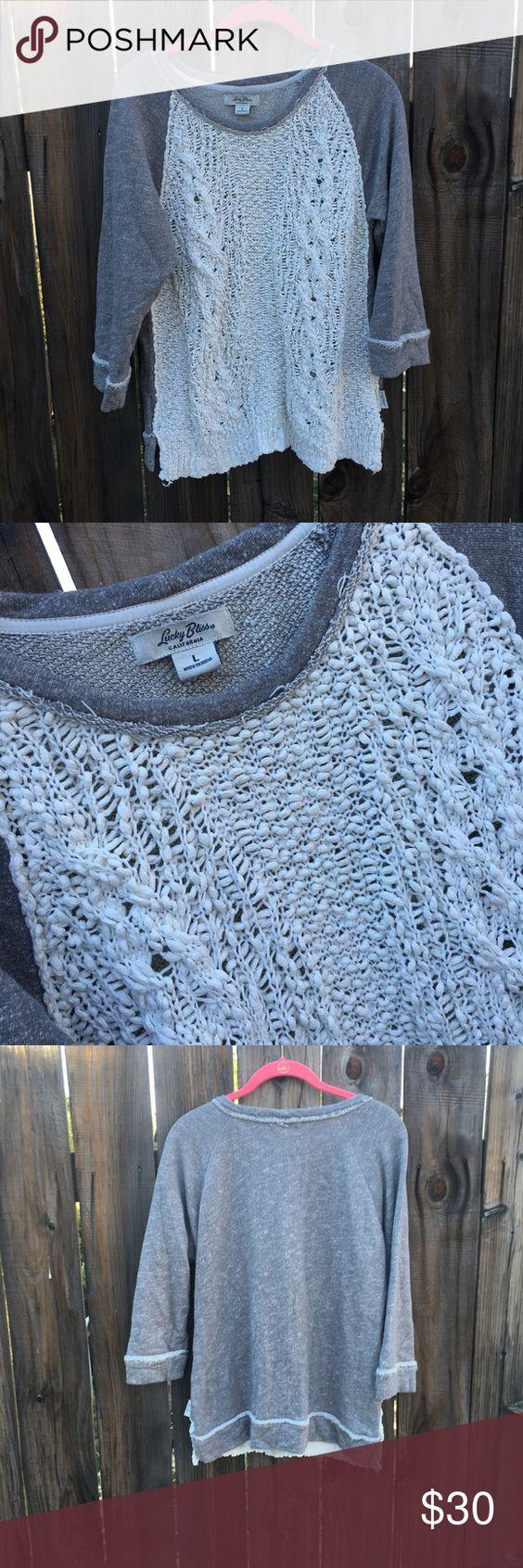 Lucky brand lucky bliss sweater Lucky brand lucky bliss sweater. Size large. EUC Lucky Brand Sweaters Crew & Scoop Necks