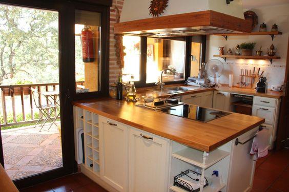Cocina barra americana isleta con vitrocer mica - Cocinas con barra americana modernas ...