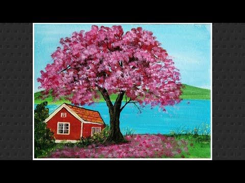 How To Draw Spring Season Landscape Painting With Cherry Blossom Tree Easy Acrylic Painting Youtube Simple Acrylic Paintings Painting Landscape Paintings