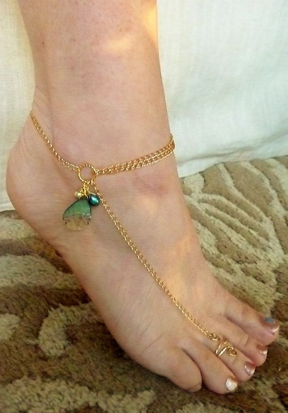Abalone Anklet, Barefoot Sandals, Foot Jewelry - Available in Silver Too: