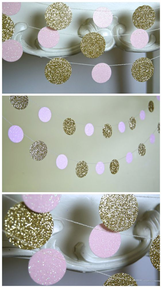 Glitter Paper Garland Gold and Pink Bridal by TheLittleThingsEV