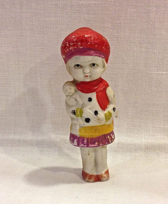 Vintage Bisque Doll with baby Frozen by VintagePrairieHome on Etsy