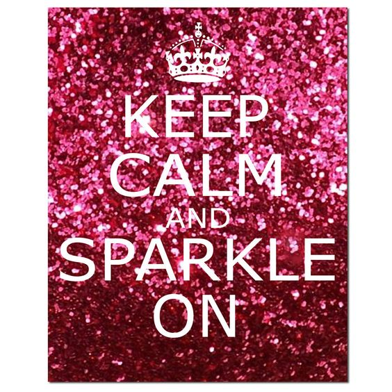 Keep Calm and Sparkle On - 11 x 14 Inspirational Popular Quote Print in Glitter Purple, Pink, Purple Pink, Blue, or Red. $25.00, via Etsy.