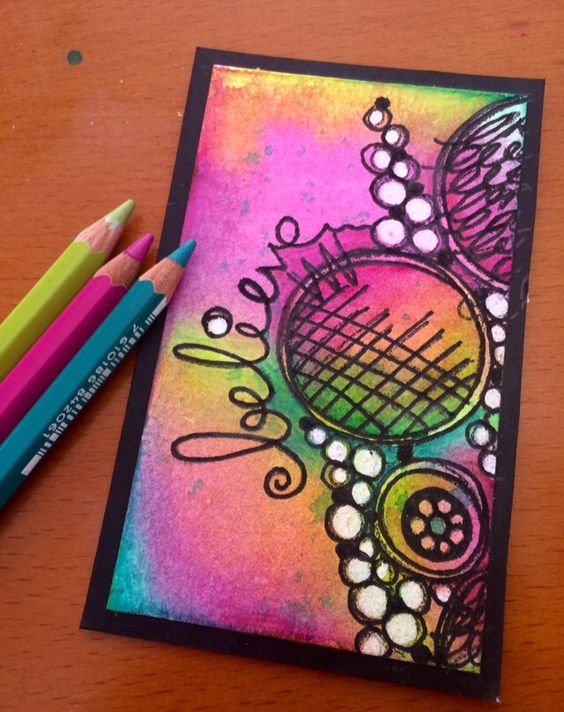 Playing with my new stamp set ETS02 from Paperartsy, my Prima watercolours and…
