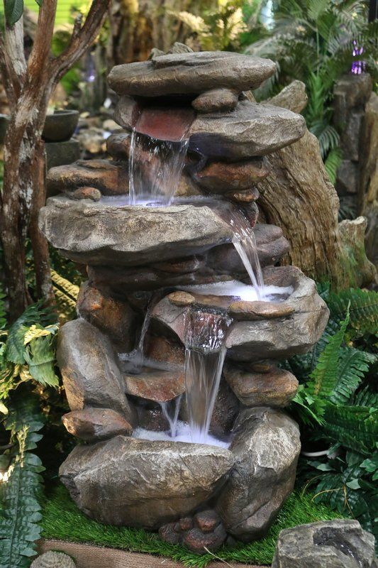 Fiberglass Rock Fountain With Light Water Fountains Outdoor