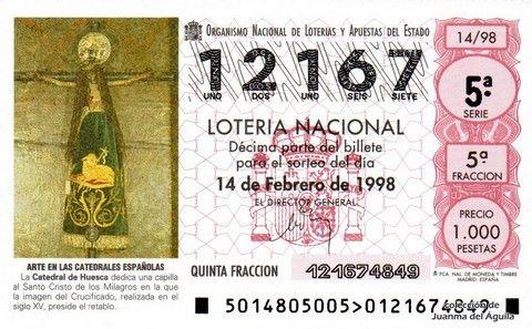 Décimo Del Sorteo Extraordinario De Lotería De San Valentin Celebrado El 14 De Febrero De 1998 Coleccionismo Lot Lotería Nacional Lotería Santísimo Cristo