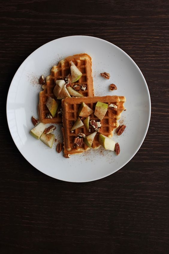 waffles with fresh pairs and toasted pecans