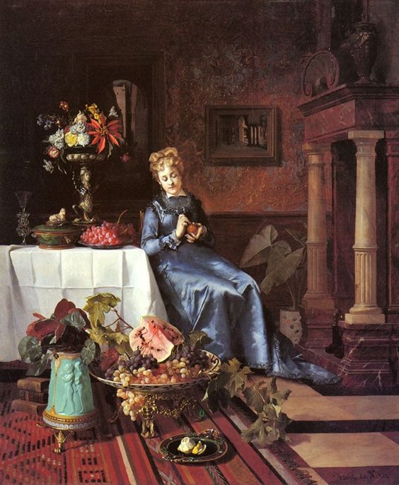 """Peeling an orange"" - David Emile Joseph De Noter (belgian-1818-1892)"