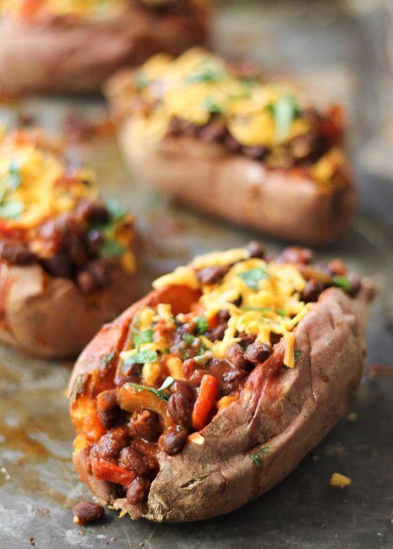 Bean Chili-Stuffed Sweet Potatoes | Recipe | Black Bean Chili, Bean ...
