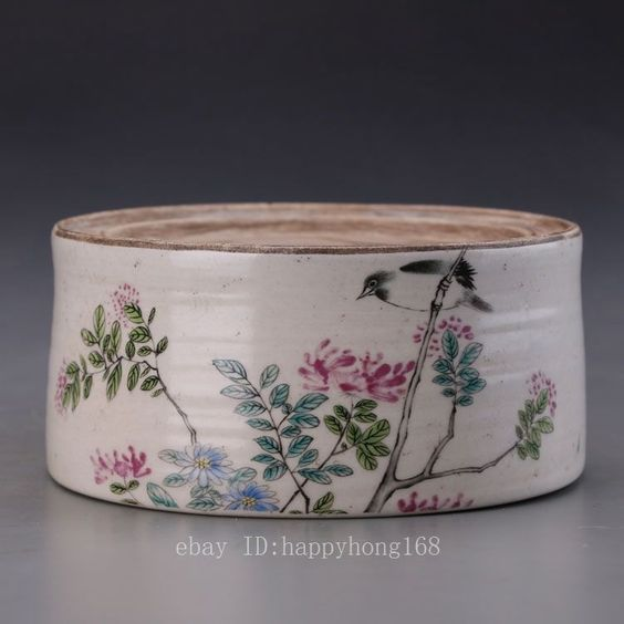 Chinese Famille Rose porcelain Ink Stone Inkpad box Painted  box