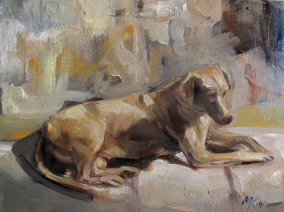 'Sun Bather'  Portrait of a Dog Oil on Panel by Margot King   #Realism
