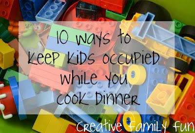 Sometimes it's a struggle to cook dinner with the kids underfoot. Here are 10 easy ways to keep the kids occupied while you cook dinner. What do you do to keep the kids busy during dinner prep?