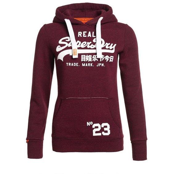Superdry Vintage Logo Hoodie ($65) ❤ liked on Polyvore featuring tops, hoodies, maroon, women, sweatshirt hoodies, purple hoodie, purple hoodies, pattern hoodie and logo hoodies