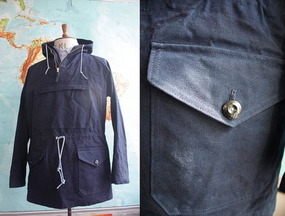 Mens Hand Made In Yorkshire Navy Canvas Kagoule by WaysideFlower, £160.00