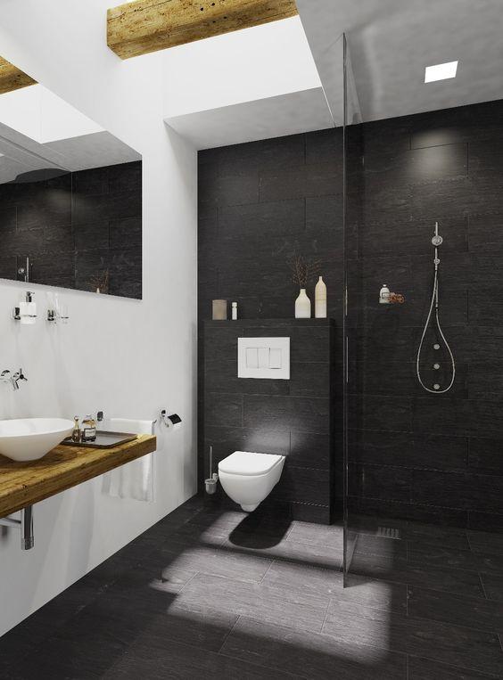 Badkamer antraciet wit interieur met hoog plafond en for Badkamer interieur