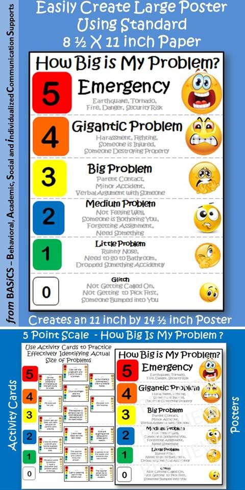 5 Point Scale How Big Is My Problem Poster Size With Activity Cards Language Therapy Activities Social Emotional Learning Interpersonal Communication Skills