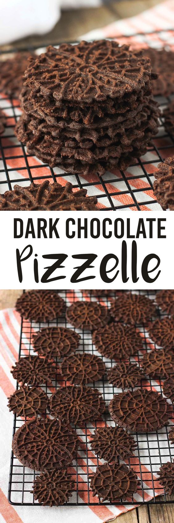 Dark chocolate pizzelle - a fun take on traditional Italian wafer cookies. They're great holiday cookies or easy to turn into cannoli shells or sandwich cookies. mysequinedlife.com