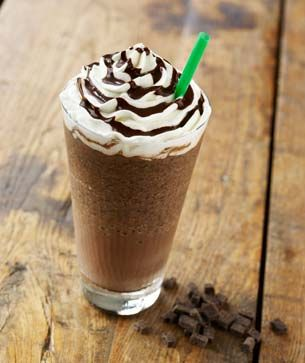 double chocolaty chip frappuccino: recipe: 1 cup of milk (whole, reduced fat, or skim. (for a special treat, add coconut milk) 2 tablespoons of sugar, 1/3 cup chocolate chips (mmm... chocolate!), 3 tablespoons chocolate syrup (Hershey's will do), 2 cups of ice, and 1 teaspoon vanilla extract.