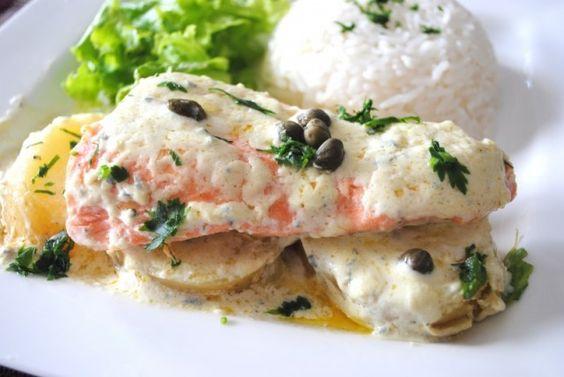 salmon with gorgonzola sauce