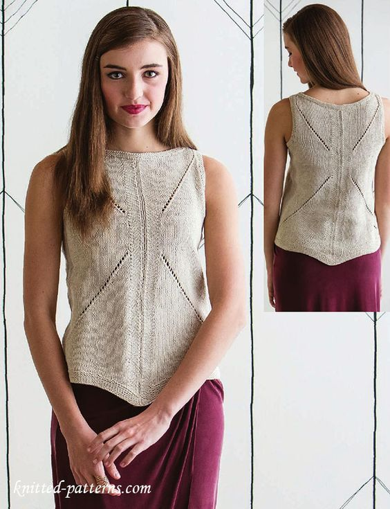 Tank Top Knitting Pattern Free : For women, Shirts and Knitting on Pinterest
