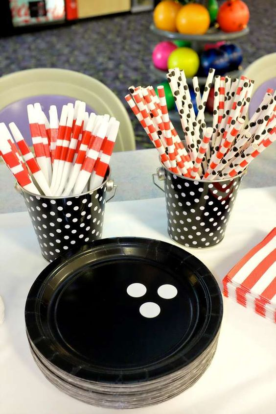 Straws and plates at a Bowling Birthday Party!   See more party ideas at CatchMyParty.com!