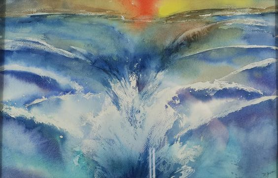 "Ocean Watercolor Painting, ""Into the Sea,"" Original Seascape, Sunset Watercolor, Ocean Waves Painting MarilynKJonas"