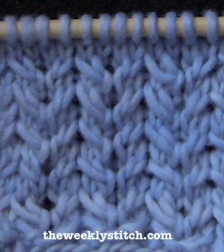 Spine Stitch. Multiple of 6 + 4 Row 1: (WS) *P5, K1* to last four stitches, P...