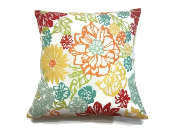 Decorative Pillow Cover Red Orange Tangerine Olive Green Yellow Mint Green Teal Same Fabric