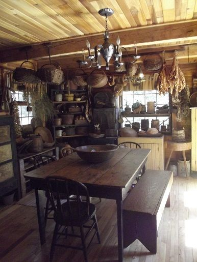 Early American Cabin And Tables On Pinterest