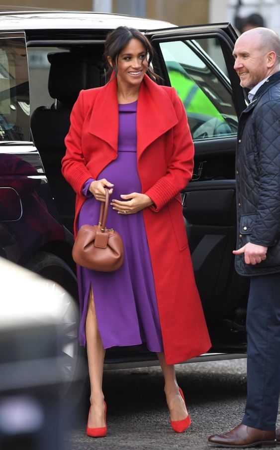 Meghan Markle Red and Purple Outfit Birkenhead January 2018 | POPSUGAR Fashion