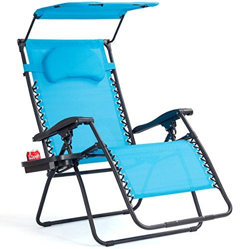 Goplus Folding Zero Gravity Lounge Chair Wide Recliner For Outdoor Beach Patio Pool W Shade Canopy Blue Zero Gravity Chair Review Https Patiochairsite Info